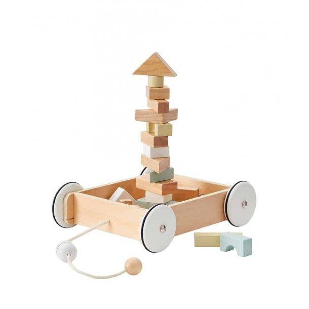 Kids Concept - Træk vogn med klodser