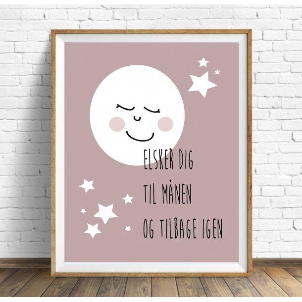 MitDejligeHjem - Børne Plakat Måne ´Jeg elsker dig´ Rosa