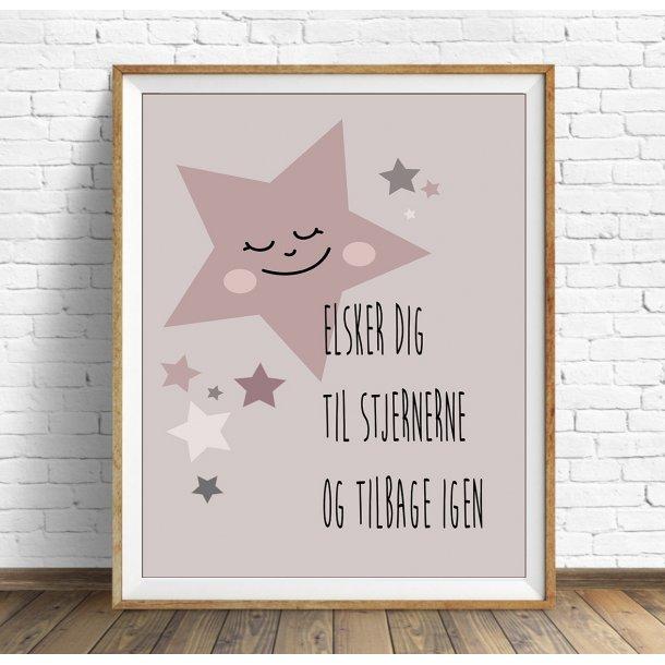 MitDejligeHjem - Børne Plakat Stjerne ´Jeg elsker dig´ Rosa