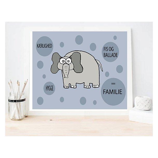 MitDejligeHjem - Børne Plakat Elefant blå