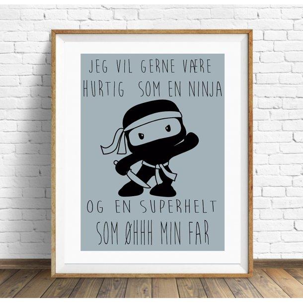 MitDejligeHjem - Børne Plakat Ninja