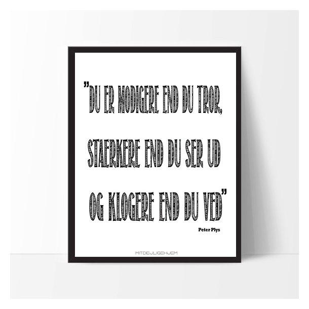 MitDejligeHjem - Børne Plakat ´Du er modigere end du tror....´