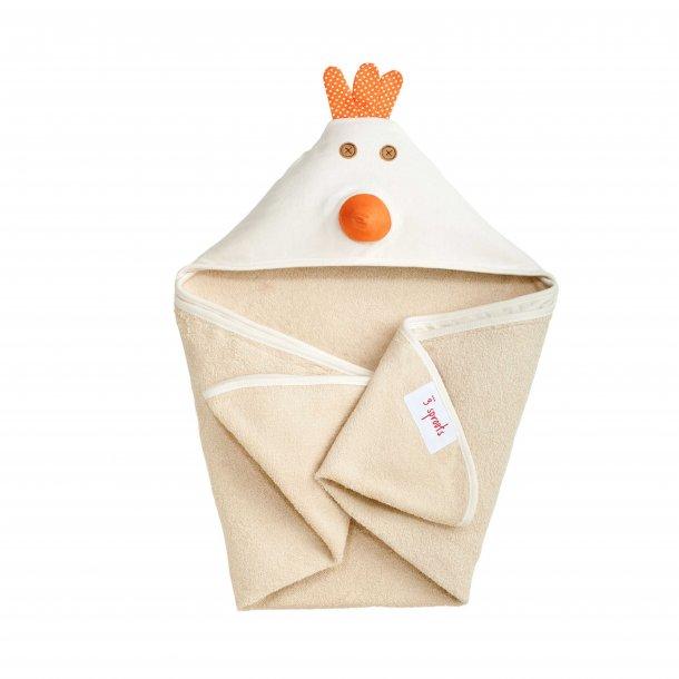 3 Sprouts - Baby Håndklæde med Hætte 76cm X 76cm, Chicken