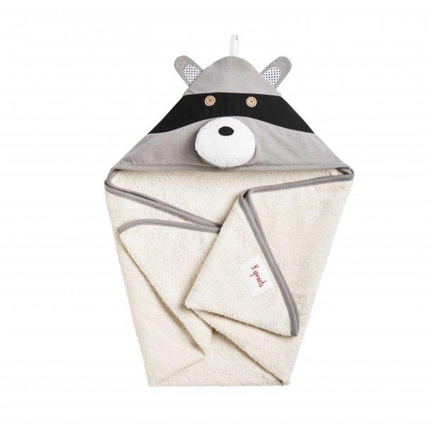 3 Sprouts - Baby Håndklæde med Hætte 76cm X 76cm, Raccoon