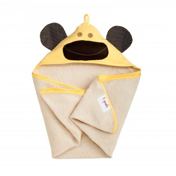 3 Sprouts - Baby Håndklæde med Hætte 76cm X 76cm, Monkey/Yellow