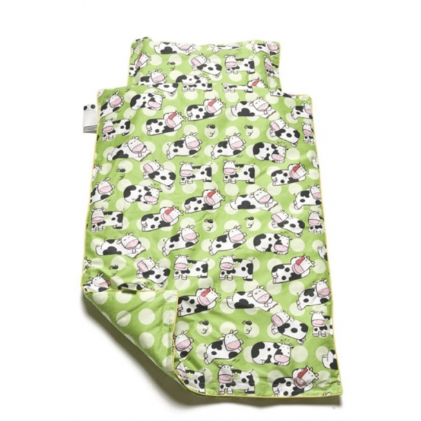 BabyTrold - Baby Sengetøj sæt 80x100 Ko Grøn